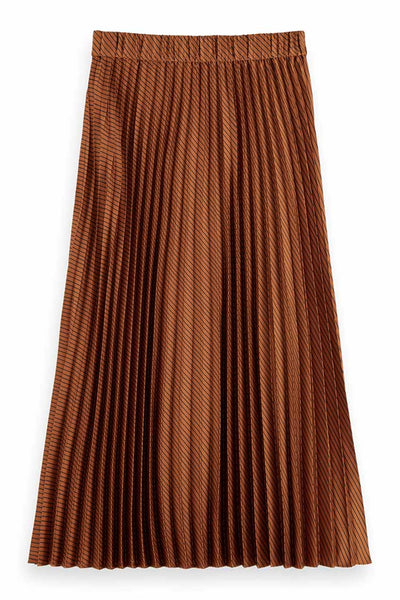 Pleated Midi Skirt in Copper Bottoms Maison Scotch