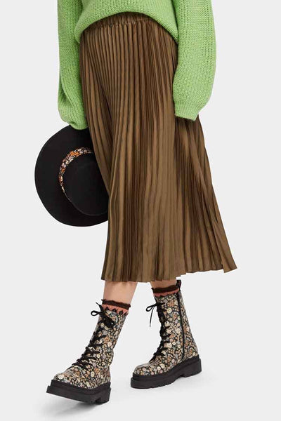 Pleated Midi Skirt in Military Bottoms Maison Scotch