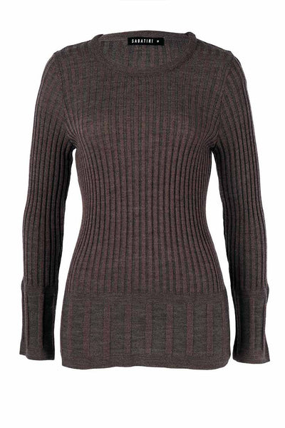 Pleated Two-Tone Knit in Charcoal Tops Sabatini
