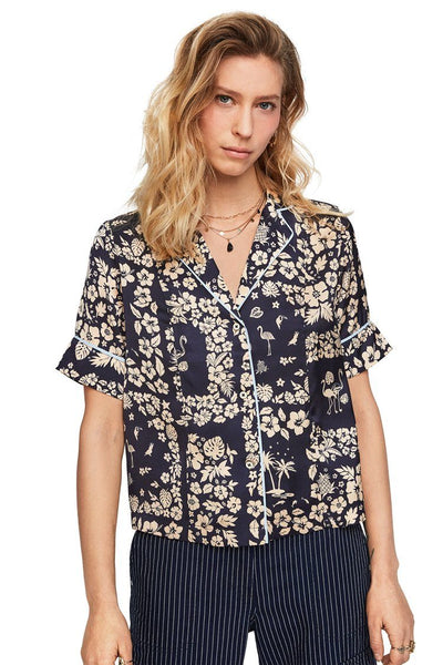 Printed Hawaiian SL Shirt Tops Maison Scotch