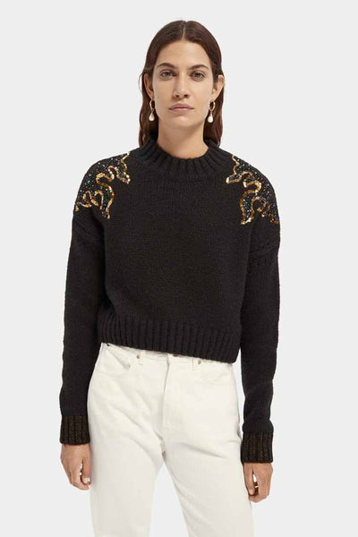 Printed Knit w Flame Pattern Tops Maison Scotch