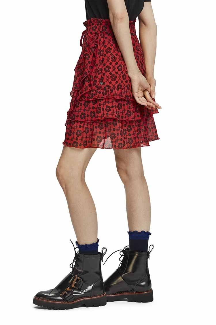 Printed Ruffle Skirt in Red