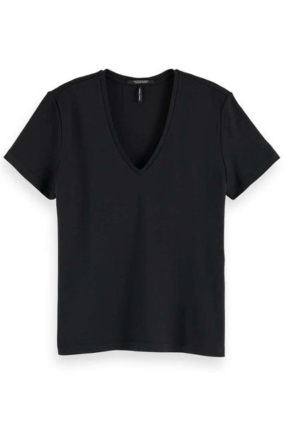 Regular Fit V-neck Tee in Tencel Tops Maison Scotch