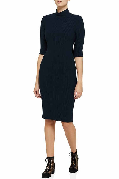 Rib Dress in Navy Dresses Moss & Spy