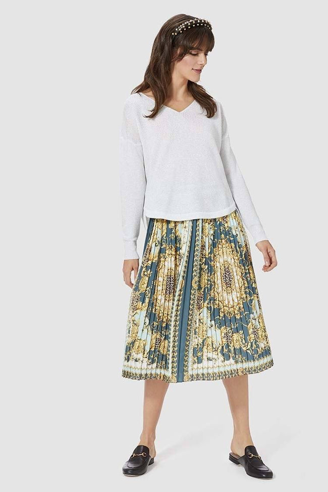 Plissee Skirt in Scarf Print