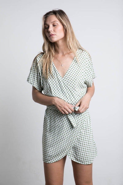 Roni Mini Dress in Sage Check | FINAL SALE Dresses Lilya