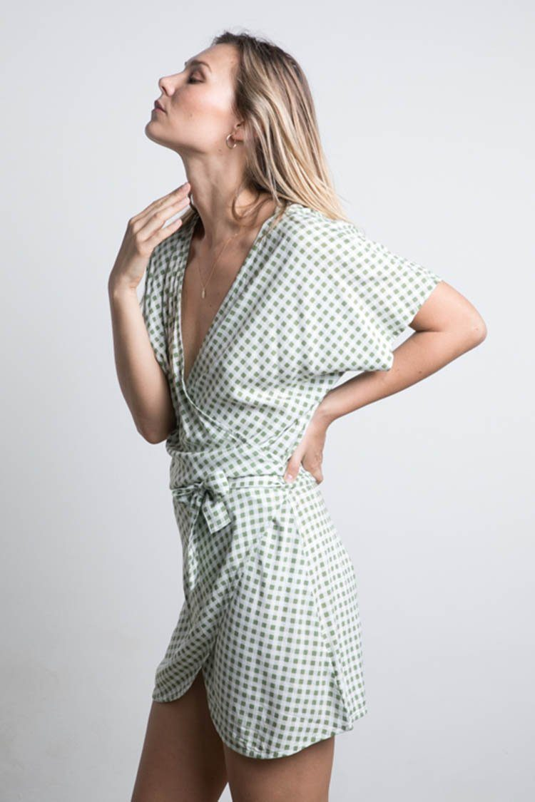 Roni Mini Dress in Sage Check | FINAL SALE