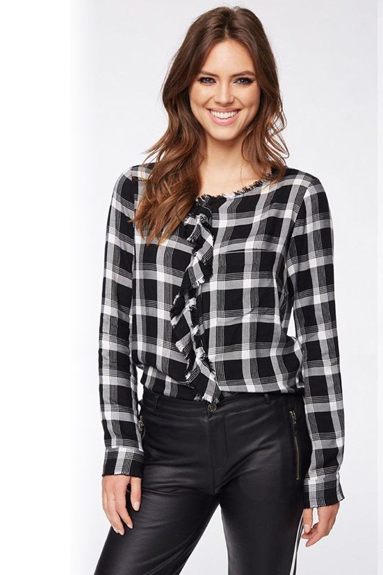 Round Neck Blouse in Check