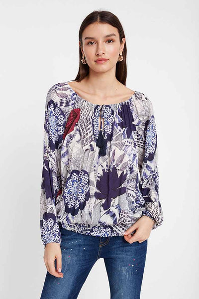 Round Neck Floral Blouse Tops Desigual