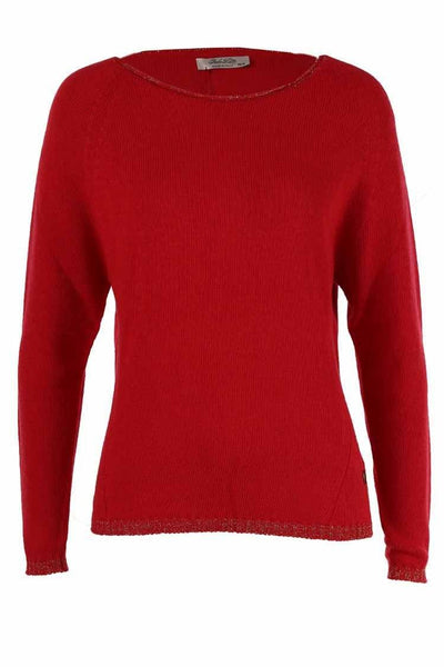 Round Neck Knit Top in Rouge Tops Pako Litto