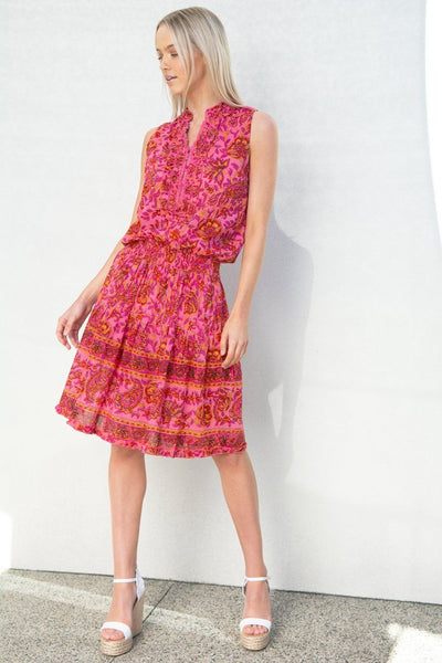 Ruby Mid Dress in Paisley Red Pink Dresses Lola Australia