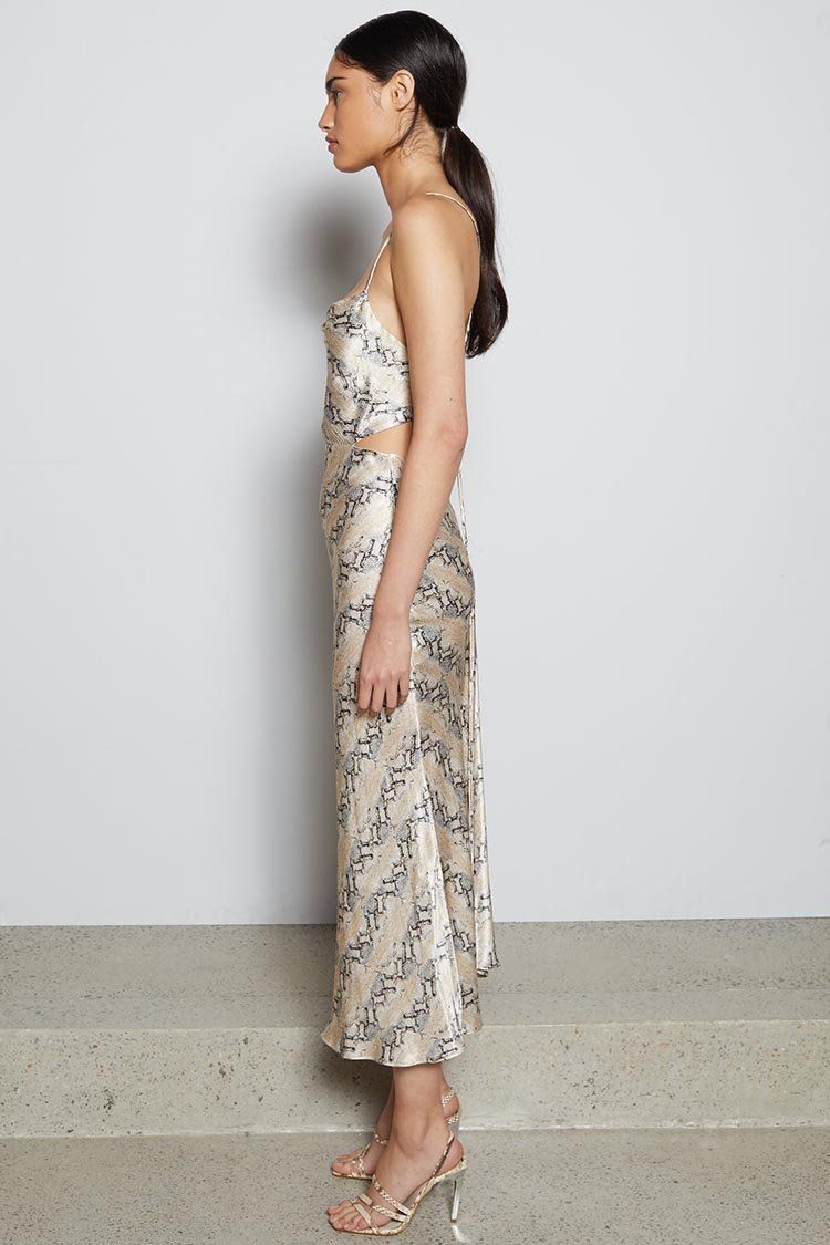 Python Midi Dress in Snake Skin