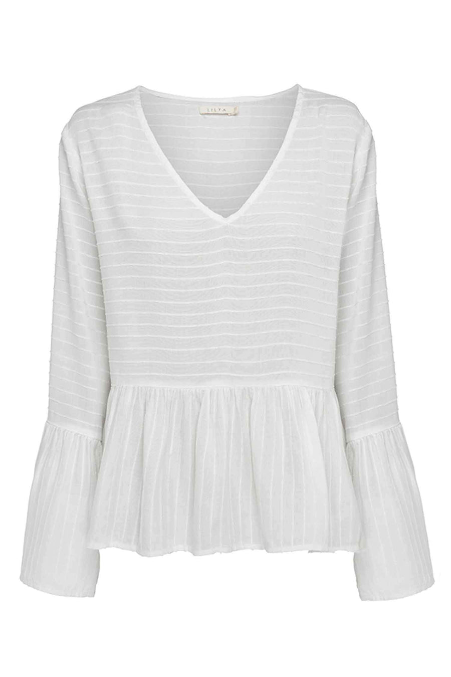 Shop Online Sanne Blouse in Ivory Stripe by Lilya  Frockaholics Tops