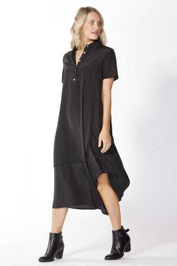 Stella Midi Shirt Dress in Black