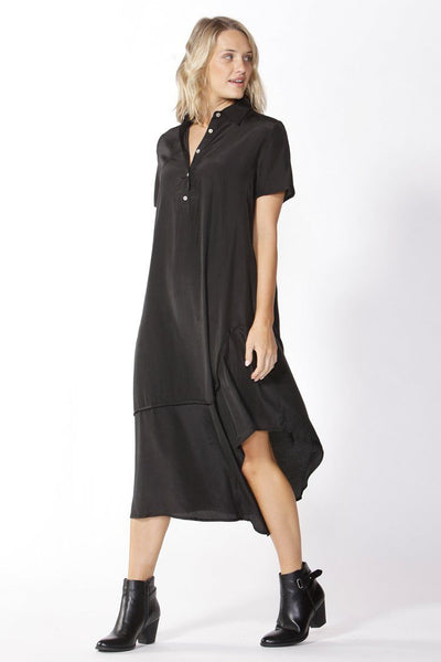 Stella Midi Shirt Dress in Black Dresses Fate + Becker