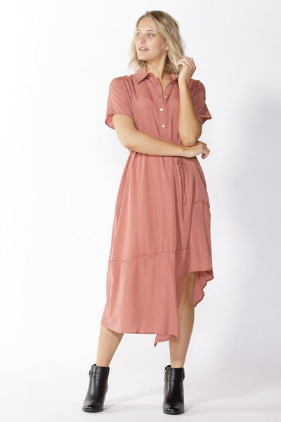 Stella Midi Shirt Dress in Rosewood Dresses Fate + Becker