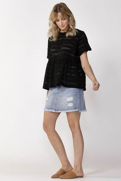 Broderie Tee in Black Tops SASS