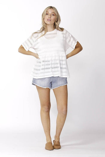 Broderie Tee in White