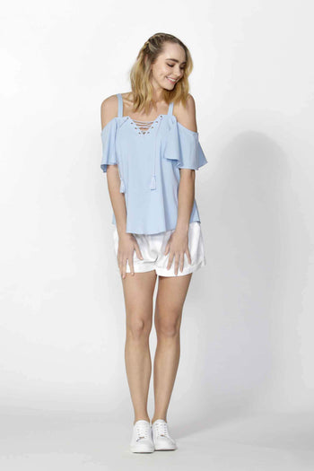 Adalyne Eyelet Trim Top in Sky