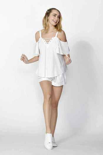 Adalyne Eyelet Trim Top in White by SASS Frockaholics.com