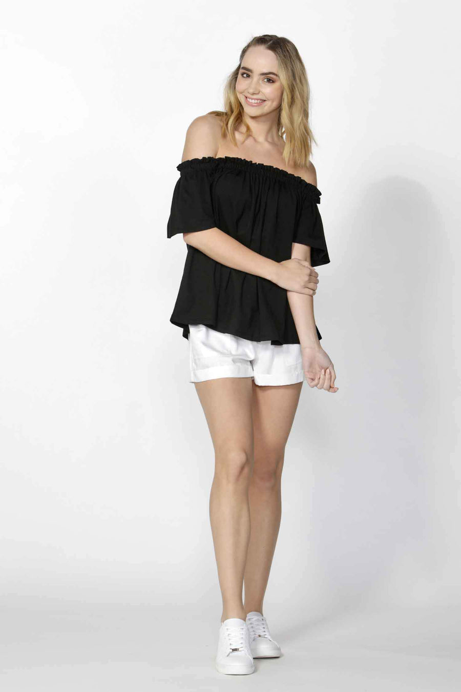 Brenna Off Shoulder Knit Top in Black