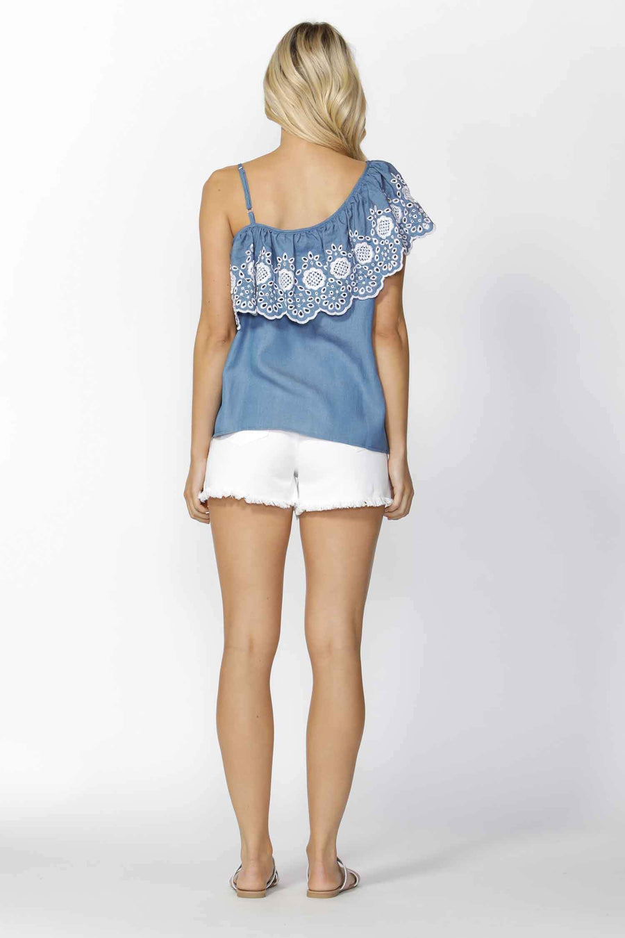 Austin Embroidered Ruffle Top