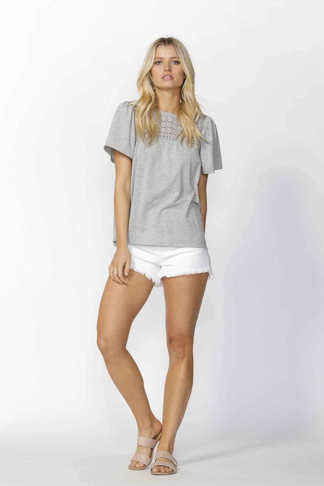 Bobbi Broderie Tee in Grey Marle by Sass Frockaholics.com