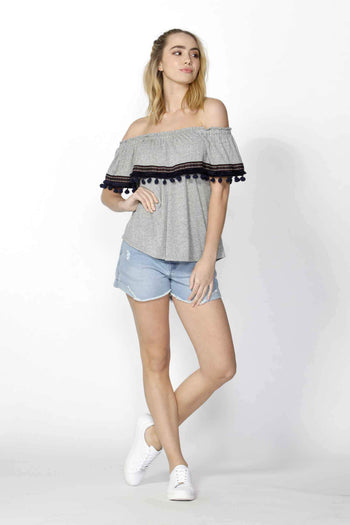 Ada Pom Pom Trim Top in Grey Marle