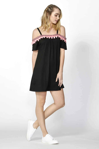 Ada Pom Pom Trim Dress in Black
