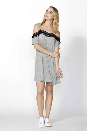 Ada Pom Pom Trim Dress in Grey Marle