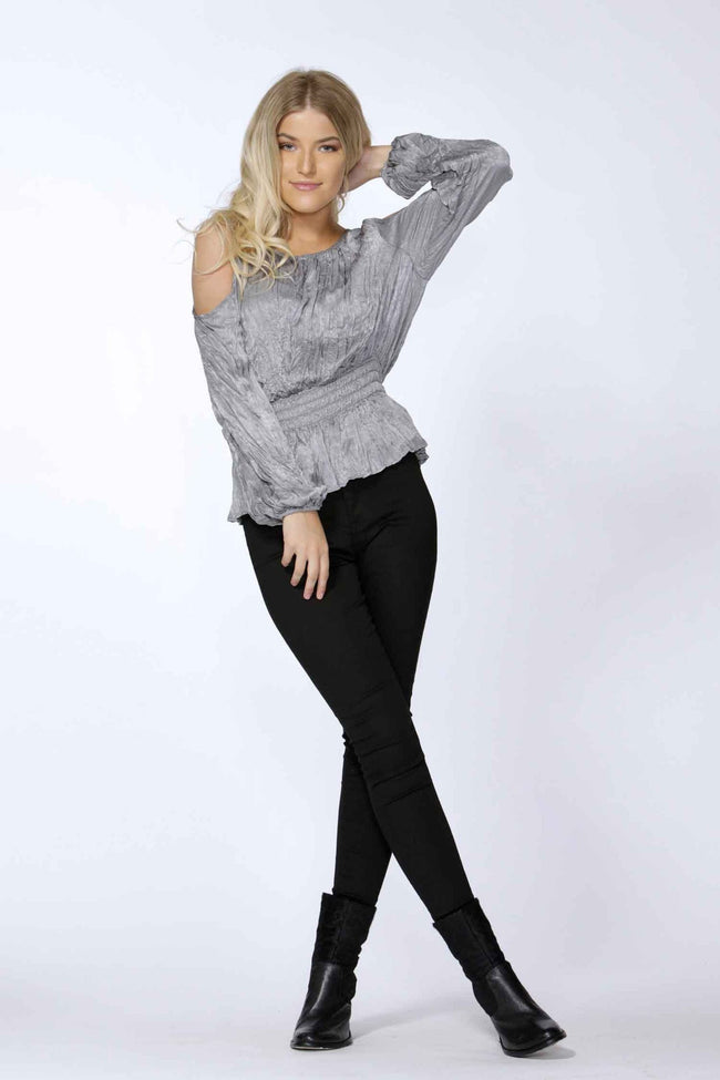 Bethany Cold Shoulder Blouse in Silver by SASS Frockaholics.com