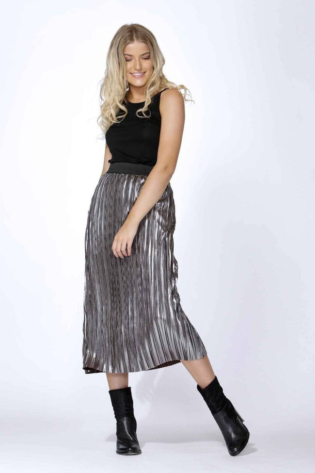 Bristol Pleated Metallic Skirt by SASS Frockaholics.com