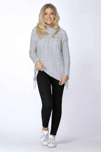 Angeline Side Tie Jumper in Grey Speck by SASS Frockaholics.com