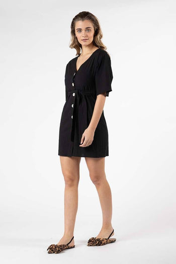 Ellika Button Front Dress in Black