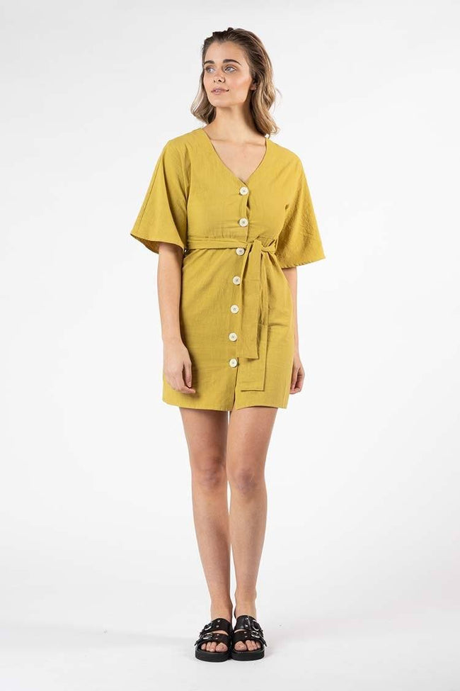 Ellika Button Front Dress in Olive