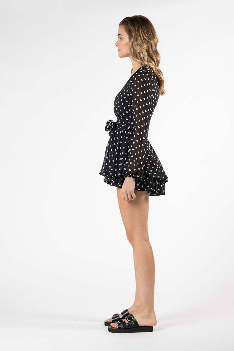 Marne Spot Playsuit in Black