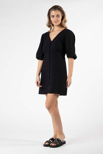 Tarva Puff Dress in Black
