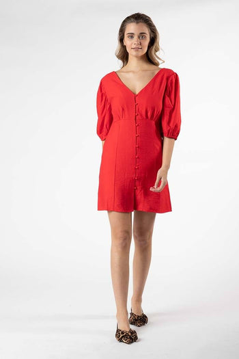 Tarva Puff Dress in Red