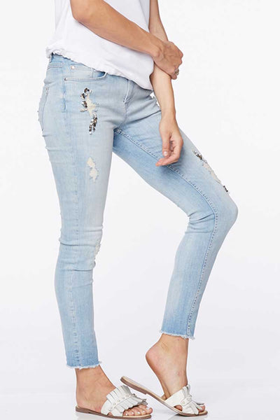Bejewelled Details Cropped Cotton Jeans Bottoms Monari