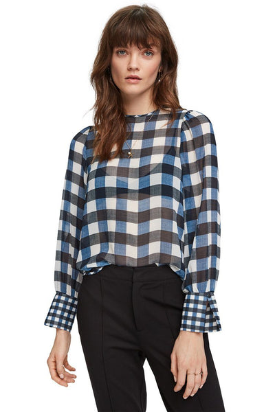 Sheer Checked Top Tops Maison Scotch
