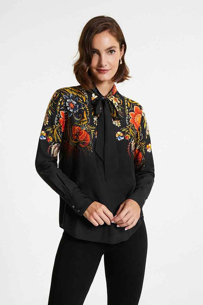 Silk Floral Blouse w Bow Tops Desigual