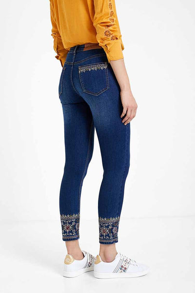 Skinny Ethnic Embroidery Jeans Bottoms Desigual
