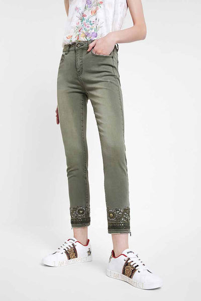 Skinny Floral Embroidery Jeans Bottoms Desigual
