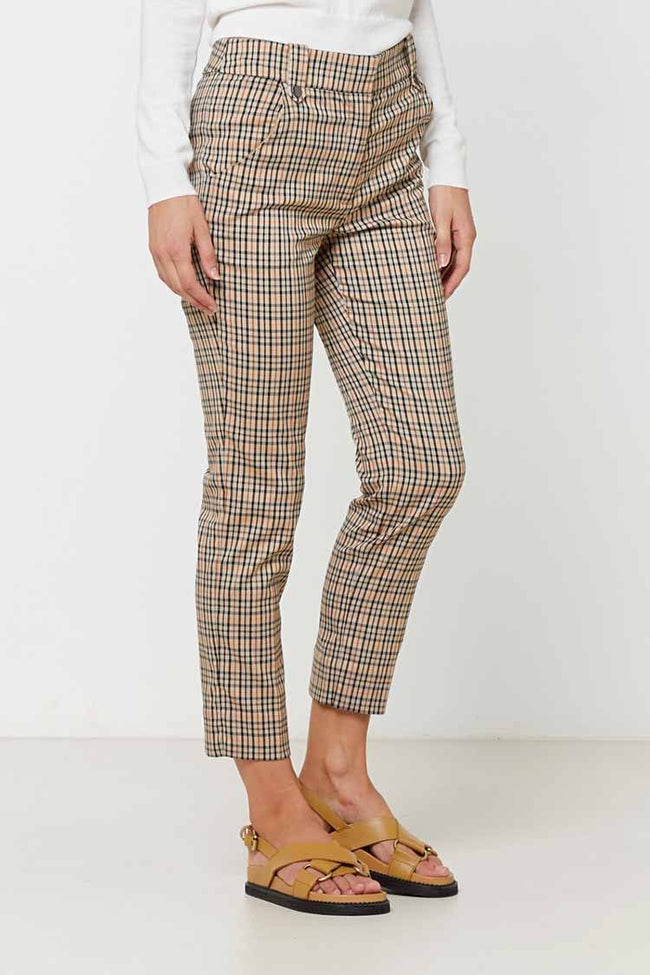 Sofia Pant in Tan Check