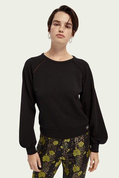 Soft Crewneck Sweater in Black Tops Maison Scotch