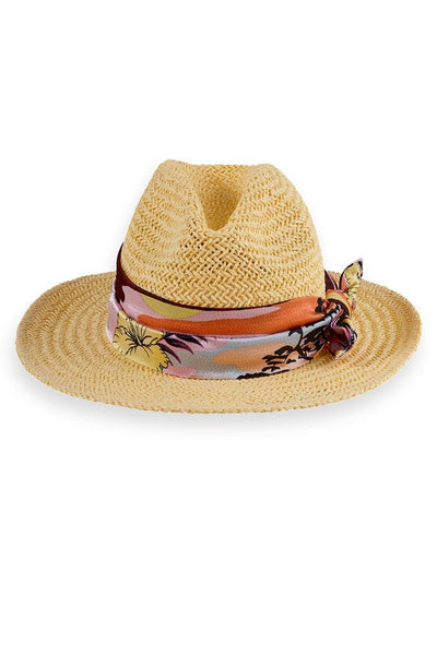 Straw Hat w Scarf Accessories Maison Scotch