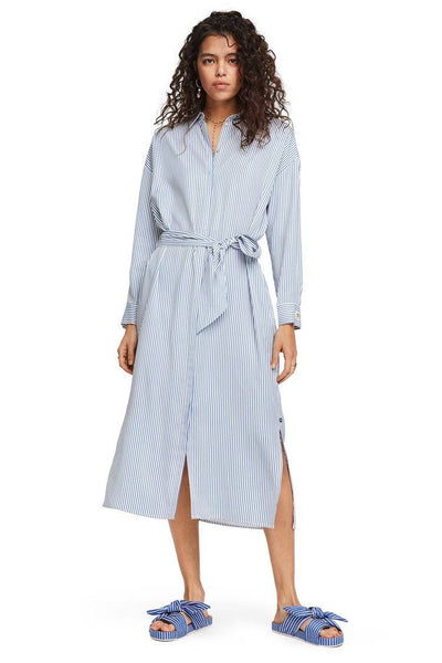 Striped Shirt Dress w Belt Dresses Maison Scotch