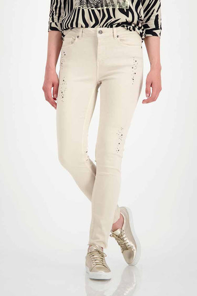 Studded Jeans in Beige Bottoms Monari