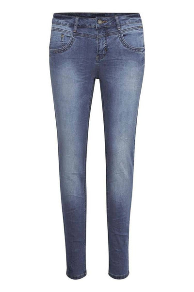 Susanna Jeans in Rich Blue Bottoms Cream