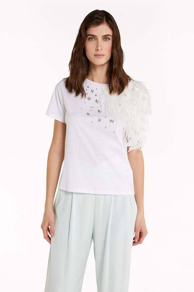 Sweater w Feather in White Tops Patrizia Pepe